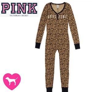 PINK VS one piece long johns onesie with butt flap